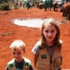 Garrett and Linnea watch the orphaned elephants.