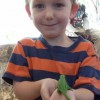 Garrett holds a chameleon which would soon become a snake's lunch.